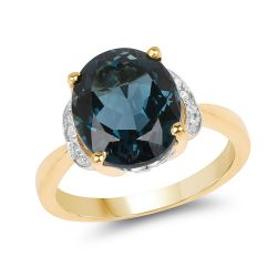 14K Yellow Gold Plated 6.09 Carat Genuine London Blue Topaz & White Diamond .925 Sterling Silver Ring