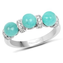 2.81 Carat Genuine Amazonite And White Topaz .925 Sterling Silver Ring