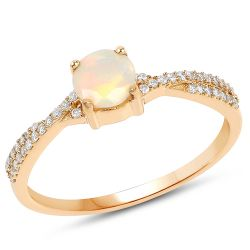 0.38 Carat Genuine Ethiopian Opal and White Diamond 14K Yellow Gold Ring