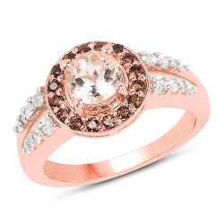 """18K Rose Gold Plated 1.46 Carat Genuine Morganite, Smoky Quartz and White Zircon .925 Sterling Silver Ring"""
