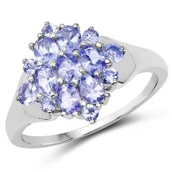 1.60 Carat Genuine Tanzanite .925 Sterling Silver Ring