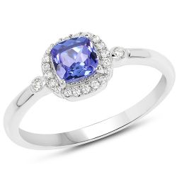 0.65 Carat Genuine Tanzanite and White Diamond 14K White Gold Ring