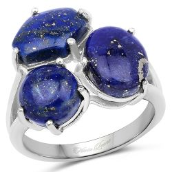 5.67 Carat Genuine Lapis .925 Sterling Silver Ring