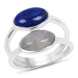 2.91 Carat Genuine Labradorite And Lapis .925 Sterling Silver Ring