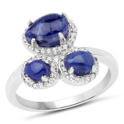 2.28 Carat Genuine Blue Aventurine And White Topaz .925 Sterling Silver Ring