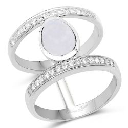 2.62 Carat Genuine White Rainbow Moonstone And White Topaz .925 Sterling Silver Ring