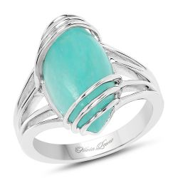 6.12 Carat Genuine Amazonite .925 Sterling Silver Ring