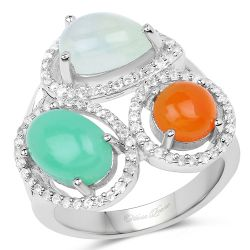 4.82 Carat Genuine Multi Stone .925 Sterling Silver Ring