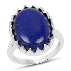 9.90 Carat Genuine Lapis .925 Sterling Silver Ring