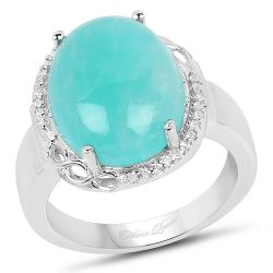 7.86 Carat Genuine Amazonite And White Topaz .925 Sterling Silver Ring
