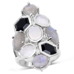"""10.30 Carat Genuine White Rainbow Moonstone, Labradorite And Black Onyx .925 Sterling Silver Ring"""
