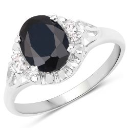 14K White Gold Plated 2.59 ct. t.w. Black Sapphire and White Topaz Ring in Sterling Silver