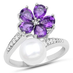 4.69 Carat Genuine Pearl, Amethyst and White Zircon .925 Sterling Silver Ring
