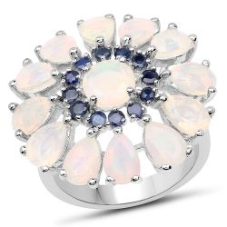3.98 Carat Genuine Ethiopian Opal and Blue Sapphire .925 Sterling Silver Ring