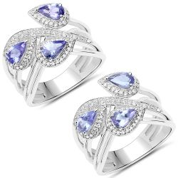 1.52 Carat Genuine Tanzanite and White Zircon .925 Sterling Silver Ring
