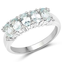 1.06 Carat Genuine Aquamarine and White Zircon .925 Sterling Silver Ring
