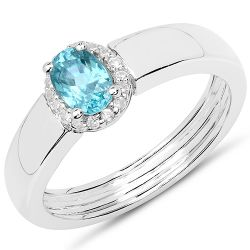 0.65 Carat Genuine Blue Zircon and White Zircon .925 Sterling Silver Ring