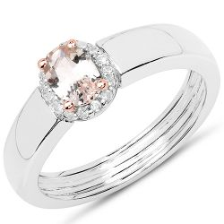 0.53 Carat Genuine Morganite and White Zircon .925 Sterling Silver Ring