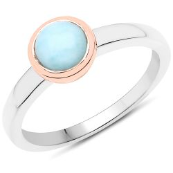 0.93 Carat Genuine Larimar .925 Sterling Silver Ring