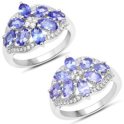 2.27 Carat Genuine Tanzanite and White Zircon .925 Sterling Silver Ring