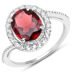 2.98 Carat Genuine Garnet and White Topaz .925 Sterling Silver Ring