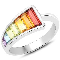 2.91 Carat Genuine Multi Stones .925 Sterling Silver Ring