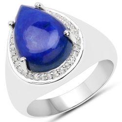 5.52 Carat Genuine Lapis and White Zircon .925 Sterling Silver Ring
