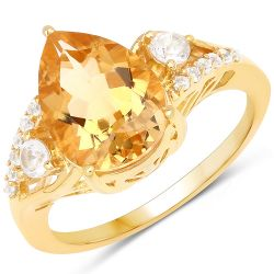 14K Yellow Gold Plated 2.98 Carat Genuine Citrine and White Topaz .925 Sterling Silver Ring