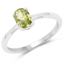 0.81 Carat Genuine Peridot .925 Sterling Silver Ring