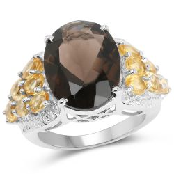 9.74 Carat Genuine Smoky Quartz, Citrine & White Topaz .925 Sterling Silver Ring