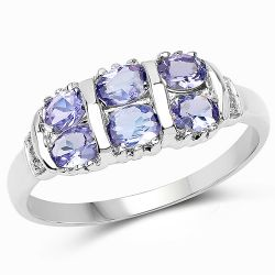 1.03 Carat Genuine Tanzanite and White Diamond .925 Sterling Silver Ring