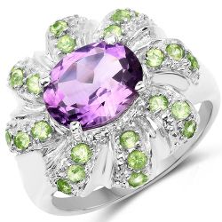 2.68 Carat Genuine Amethyst & Peridot .925 Sterling Silver Ring