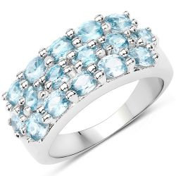 4.00 Carat Genuine Blue Zircon .925 Sterling Silver Ring