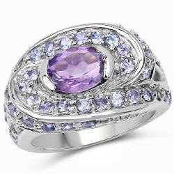 2.76 Carat Genuine Amethyst and Tanzanite .925 Sterling Silver Ring