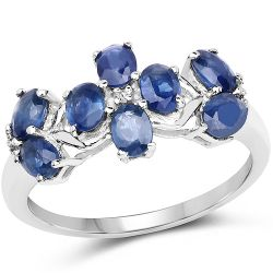 1.79 Carat Genuine Blue Sapphire and White Topaz .925 Sterling Silver Ring