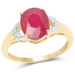 14K Yellow Gold Plated 4.01 Carat Glass Filled Ruby and White Diamond .925 Sterling Silver Ring