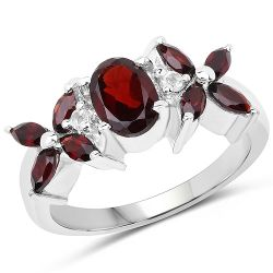 1.85 Carat Genuine Garnet and White Topaz .925 Sterling Silver Ring