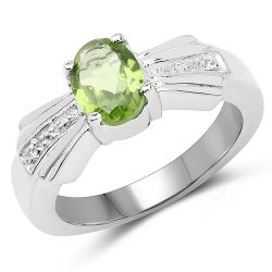 1.13 Carat Genuine Peridot and White Topaz .925 Sterling Silver Ring