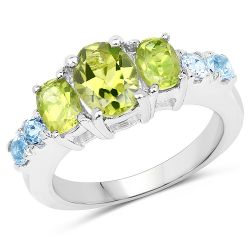 2.48 Carat Genuine Peridot and Blue Topaz .925 Sterling Silver Ring