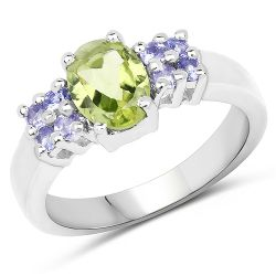 1.34 Carat Genuine Peridot and Tanzanite .925 Sterling Silver Ring