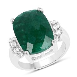 8.50 Carat Dyed Emerald and White Topaz .925 Sterling Silver Ring