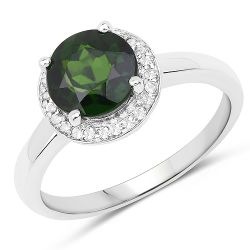 1.92 Carat Genuine Chrome Diopside and White Topaz .925 Sterling Silver Ring