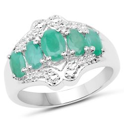 1.24 Carat Genuine Emerald .925 Sterling Silver Ring