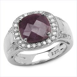 4.87 Carat Genuine Ruby & White Topaz .925 Sterling Silver Ring