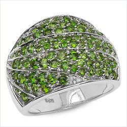 3.16 Carat Genuine Chrome Diopside .925 Sterling Silver Ring