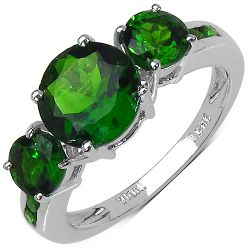 3.20 Carat Genuine Chrome Diopside .925 Sterling Silver Ring
