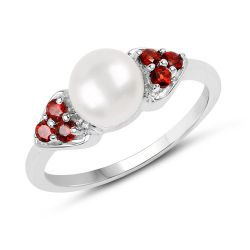 2.55 Carat Genuine Pearl and Garnet .925 Sterling Silver Ring