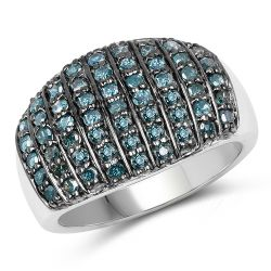 0.83 Carat Genuine Blue Diamond and White Diamond .925 Sterling Silver Ring