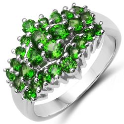 1.80 Carat Genuine Chrome Diopside .925 Sterling Silver Ring