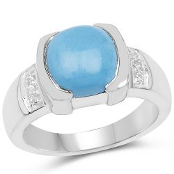 3.07 Carat Genuine Turquoise & White Sapphire .925 Sterling Silver Ring